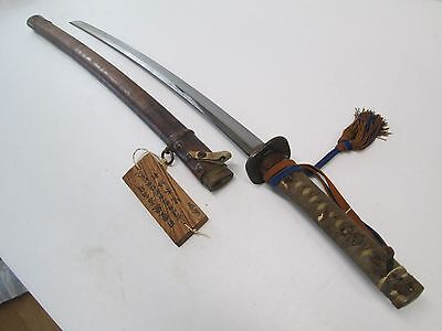 Ww2 Japanese Army Officers Sword Signed With Scabbard & Tassle Surender Tag #f23