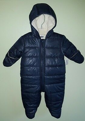NWT $40 Old Navy BOYS Infant 0-3 MONTHS Winter Coat Bunting NAVY Snowsuit #53217