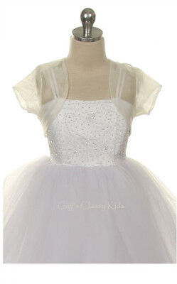 New Ivory Flower Girls Sheer Organza Bolero First Communion Party Graduation 310