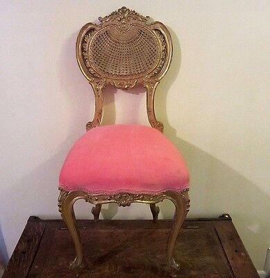 Antique Ornate French Petite Gilt Rococo Caned back Boudoir/Side Chair