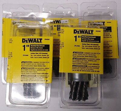 "DeWalt DW4902-5 1"" Knot End Brush Carbonsteel 1/4 Stem 5pcs."