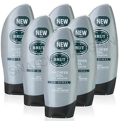6 x MEN'S BRUT FABERGE SHOWER GEL ORIGINAL 250ml