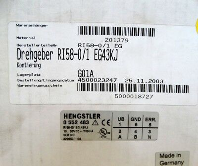 Hengstler RI 58-0/1 Drehgeber  0 552 483  - unused -