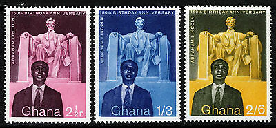 GHANA 1959 Abraham Lincoln 150th Birth Anniversary Set SG 204 to SG 206 MNH