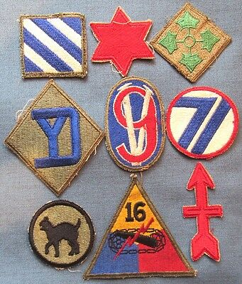 Lot of 9 original WWII period US Army division shoulder patches (3)