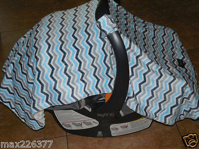 NEW baby INFANT canopie car seat cover BLANKET LINED SHADE minky chevron