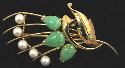 Estate Jewelry 14k Yellow Gold Fan Shape Pearl + Green Stones Brooch Pin