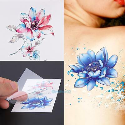 10 Sheets Colorful Flower Body Art Temporary Tattoo Removable Waterproof Sticker