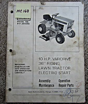 owners manual 38 riding lawn mower tractor sears model 917 2520131 rh picclick com Zero Turn Mower Owners Manual MTD Self-Propelled Lawn Mower