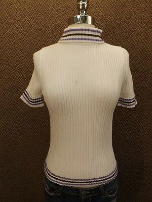 Sporty Attitude Vtg 1960s New NOS White Ribbed Stretch Knit Top S Body Hugging