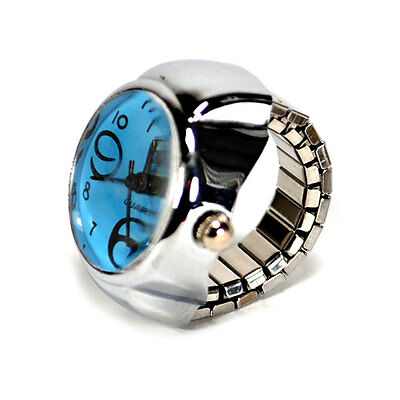 WATCH RING Finger Stretch Band Chrome Time Piece Jewelry Large Number Blue Gift