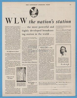 1929 WLW Crosley Radio Corp Cincinnati OH The Nation's Station vintage print Ad
