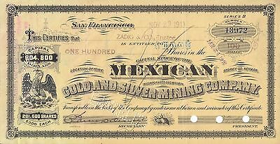 Mexican Gold & Silver Mining Company 1900's 100 Shares Bond Certificate SeriesB