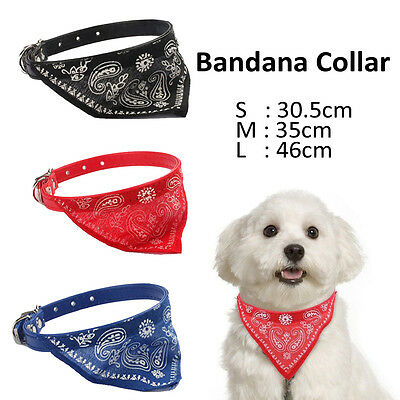 NEW S/M/L Dog Puppy Pet Adjustable Patterned Scarf Bandana Collar Neckerchief UK