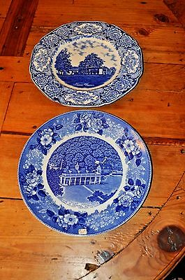 Two Antique Mount Vernon Virginia Staffordshire Plates Blue and White