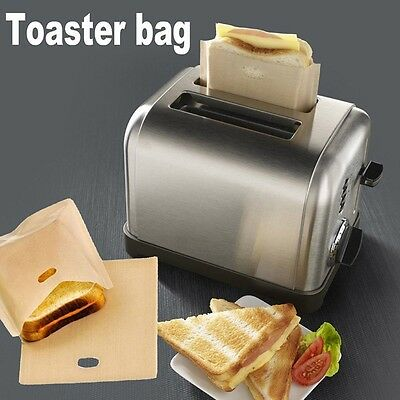 Reusable Non Stick Toaster Bags Toastie Sandwich Bread Toast Pockets 2 Size