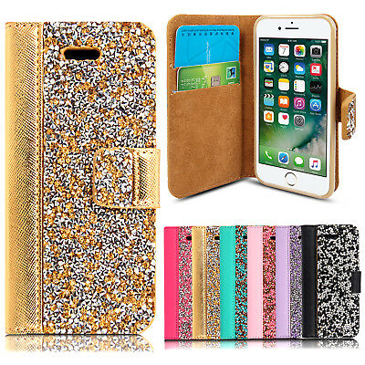 Luxury Glitter Flip Bling Wallet Leather Stand Cover Case For Various New Phones