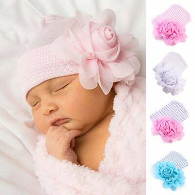 Cute Newborn Baby Infant Girl Toddler Comfy Big Flower Hospital Cap Beanie Hat