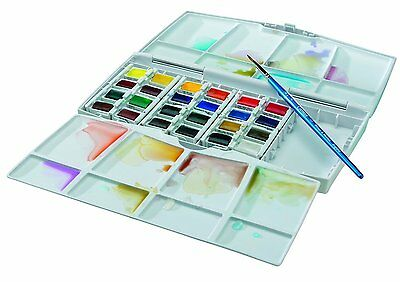 Winsor and Newton Cotman Watercolours Painting Plus - 24 Half Pans Water Colour