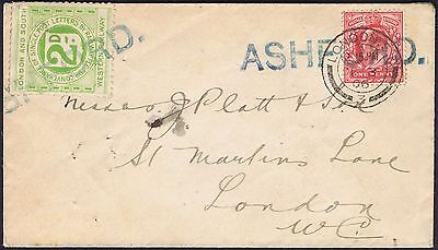 1906 1d used with L&SW Railway Stamp fine blue ASHFORD Middlesex cancels