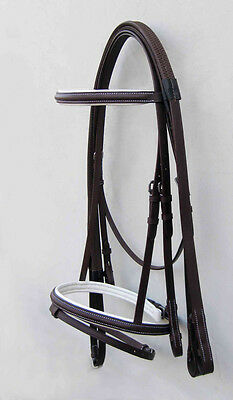 Leather Horse Bridle Padded Brown/white With Rubber Grip Rein In Full,cob,pony