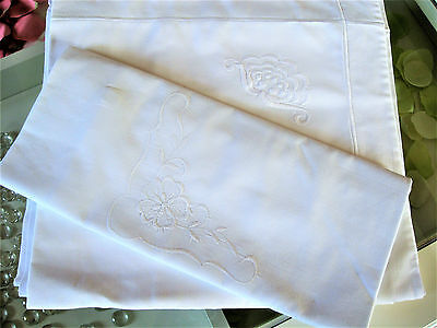 Two Pretty Vintage French White Linen Pillowcases with crewel work embroidery