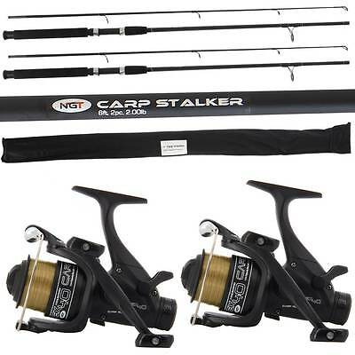 2 x CARP STALKER FISHING RODS 6ft 2PC 1.8M +2 EX40 2BB FREE RUNNER REELS + LINE
