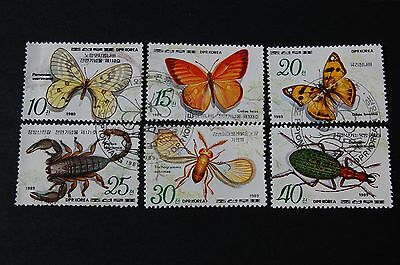 Korea 1989 Butterflies and Insects Set Of Six Stamps VFU