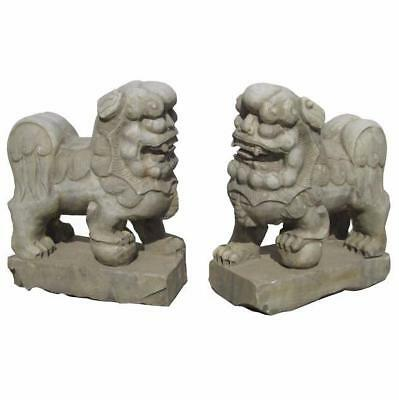Pair Chinese Antique Hand Carving Marble Fen Shui Foo Dogs WK2732