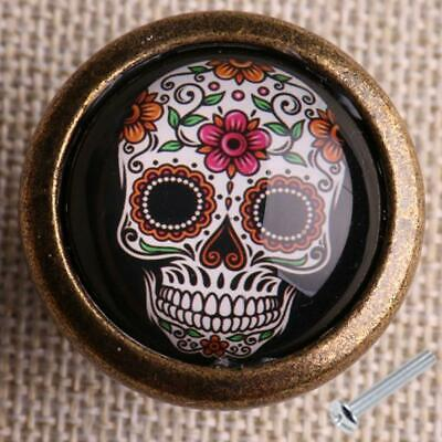Retro Skull Print Wardrobe Cabinet Door Cupboard Drawer Pull Handle Knob #6