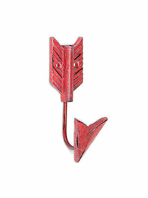 "Metal Cast Iron Arrow Single Wall Hook Antique Red 5"" Height"