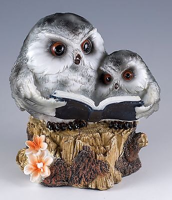 """Gray Owl With Baby Reading Book Figurine 4"""" High Resin New!"""