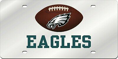 Philadelphia Eagles Team Ball Style Deluxe Acrylic Laser Cut Mirrored License Plate Tag Football