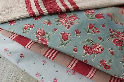 Antique French fabric vintage material PROJECT scraps red blue fabric patchwork