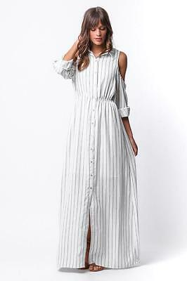 Pinstripe Oxford Stripe Open Off The Shoulder Long Maxi Shirt 218 mv Dress S M L
