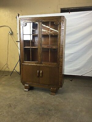Antique Art Deco Style Bookcase Solid Oak 2 Door