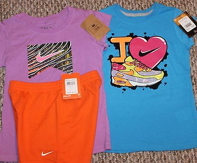 New! Girls Nike Summer 3 pc Lot/Outfit (2 Shirts, Shorts, Colorful!) - Size 6