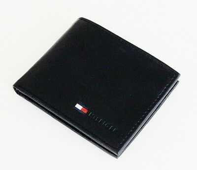 New Tommy Hilfiger Passcase Credit Card Billfold Men's Black Leather Coin Wallet