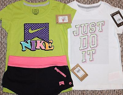 New! Girls Nike Summer 3 pc Lot/Outfit (2 Shirts, Shorty Shorts:Colors) - Size 6