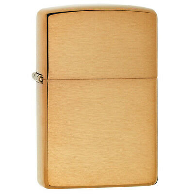 Zippo 204B Genuine Refillable Windproof Lighter - Brushed Brass w/o Engraving