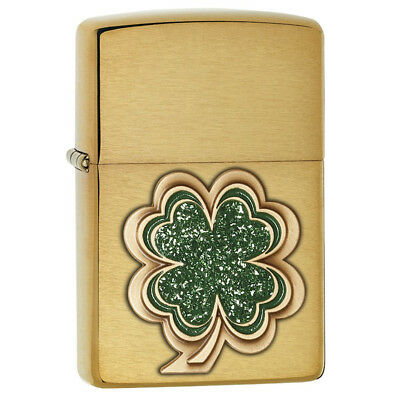 Zippo 28806 Genuine Refillable Windproof Lighter - Brushed Brass Shamrock