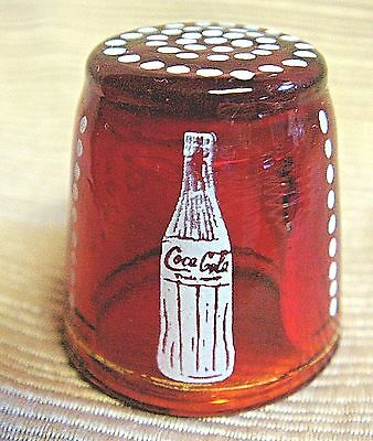 RARE Vintage RED GLASS THIMBLE - COCA-COLA / COKE Ad Piece w/ Bottle & Logo MSR