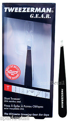 Tweezerman GEAR SLANT Steel TWEEZER Slanted Tip BLACK Eyebrow Brow Tweezers