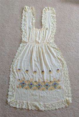 Antique Edwardian Silk Lace Embroidered Pinafore Cream Pansy Flowers Arts Crafts