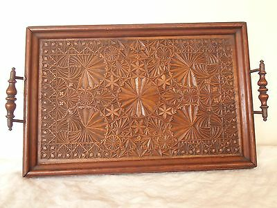 Antique Ornately CHIP CARVED Wooden Serving Tray Mahogany AWESOME c 1880