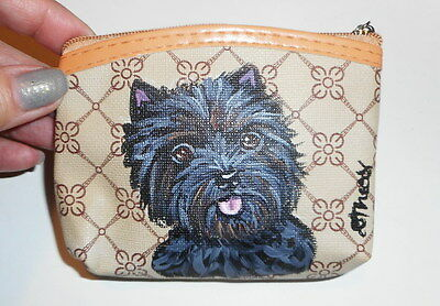 Cairn Terrier Dog Hand Painted Leather Coin Purse Vegan