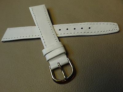 New Mens White Calfskin Genuine Leather 18mm Watch Band Gold Tone Buckle