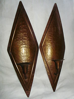 Old Pair ARTS & CRAFTS HAMMERED COPPER CANDLE WALL SCONCES Mission