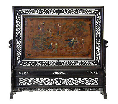 Chinese Lacquer Drawing Writing Table Top Screen Display cs2369
