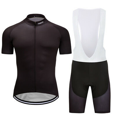 New Men's Cycling Tops Full Zipper Bike Bicycle Jersey Bib Shorts Outfits Black